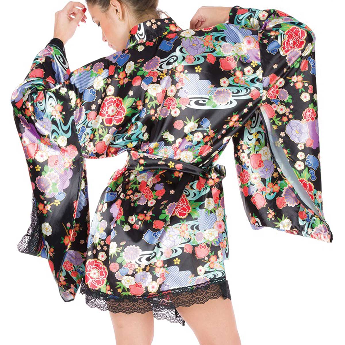 Kimono Curto de Cetim Hello Kitty Cerejeira