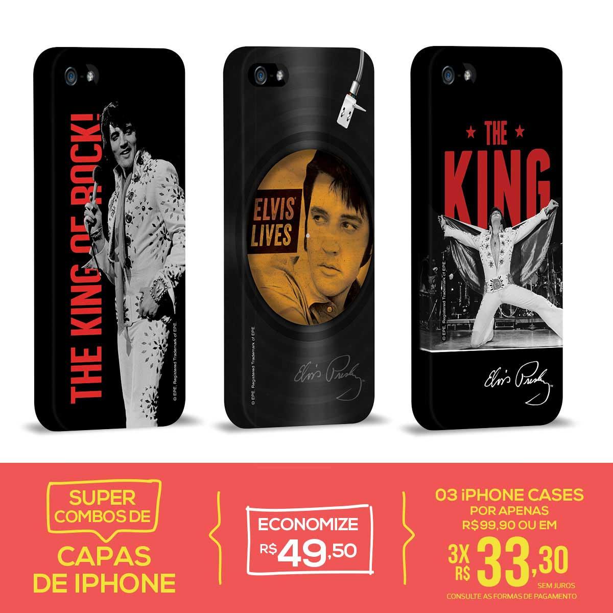 Kit Com 3 Capas de iPhone 5/5S Elvis Presley The King