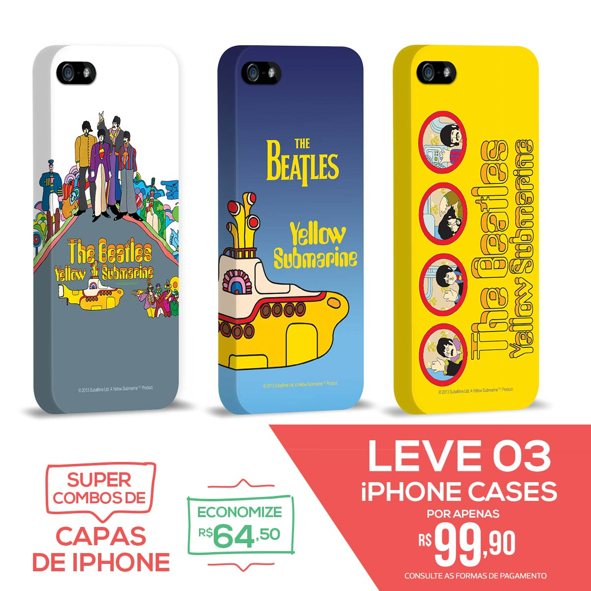 Kit Com 3 Capas de iPhone 5/5S The Beatles Yellow Submarine