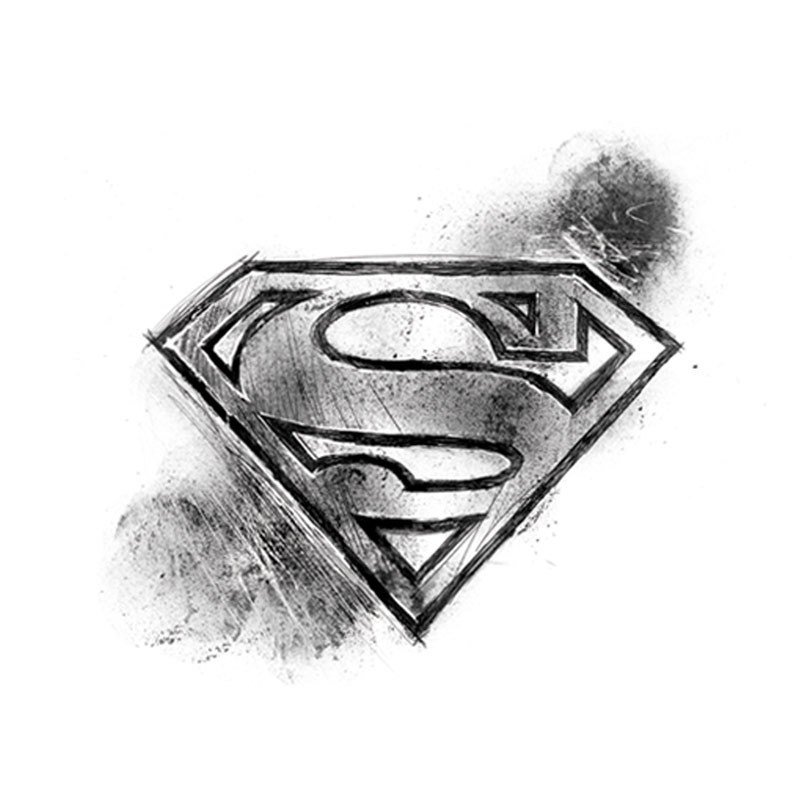 Moletom Com Capuz Preto Superman Logo Tracing