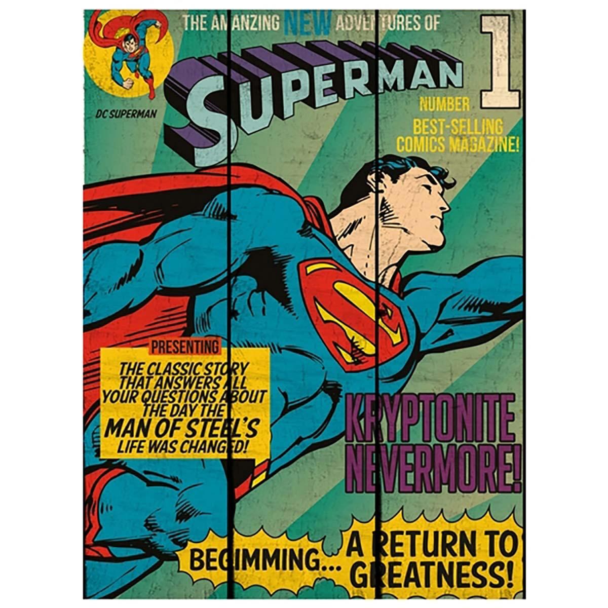 Placa de Madeira Superman Flying