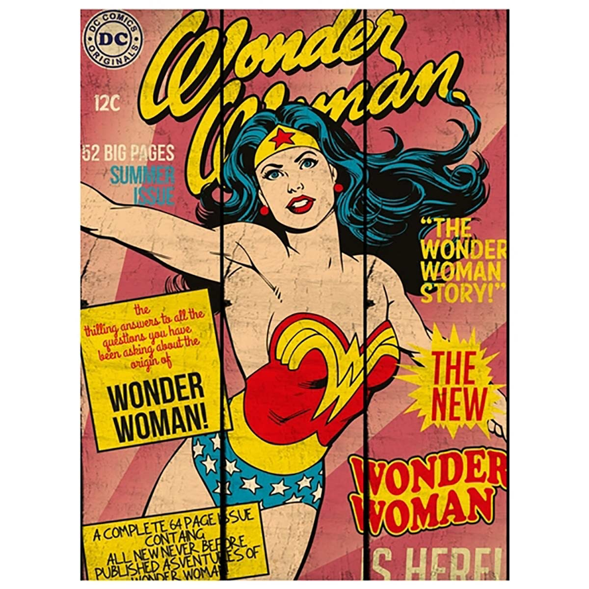 Placa de Madeira Wonder Woman Capa