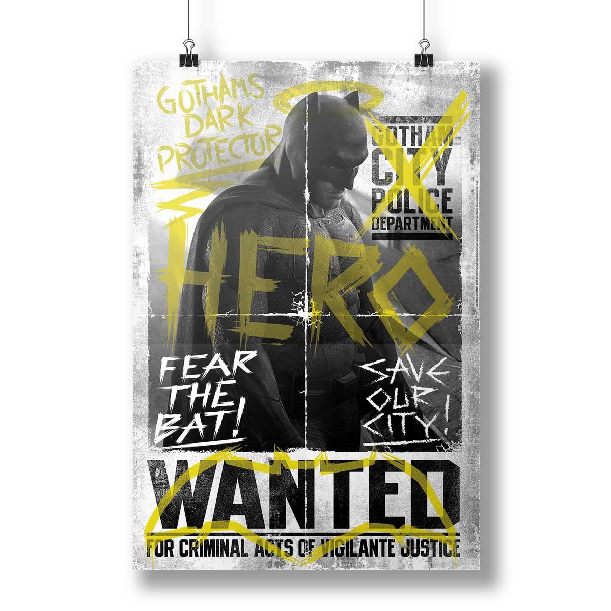 Pôster Batman VS Superman Hero Wanted