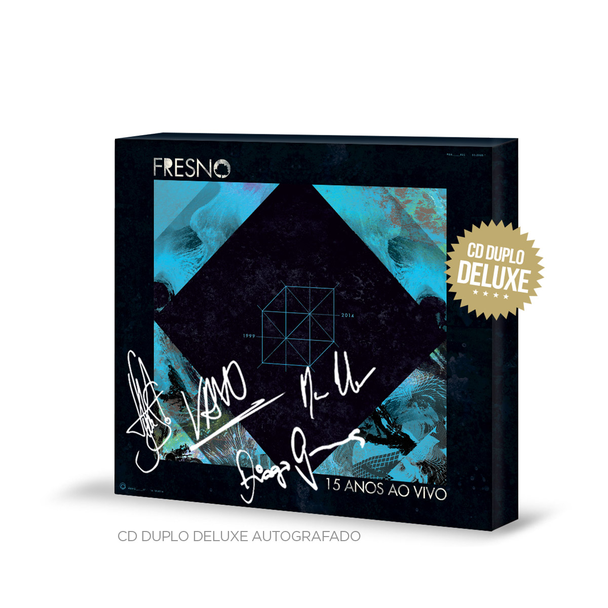 CD Duplo Deluxe + DVD Fresno 15 Anos ao Vivo AUTOGRAFADOS + Pôster GRÁTIS
