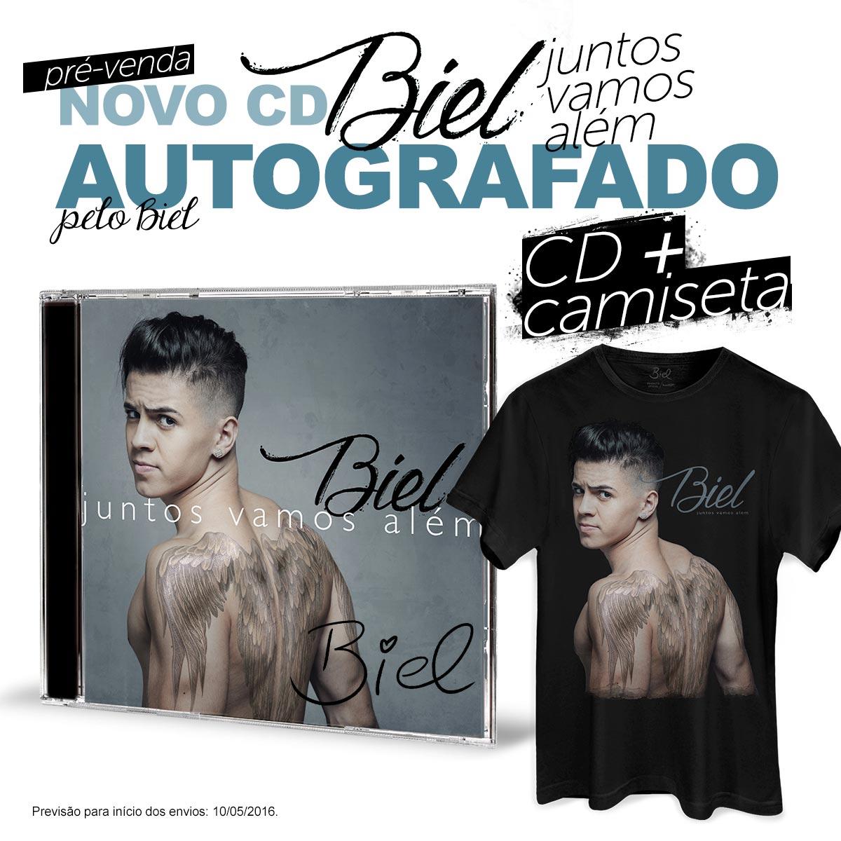 Combo Biel Camiseta Masculina + CD Juntos Vamos Além AUTOGRAFADO