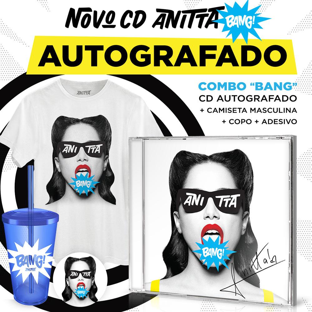Combo CD Bang! Anitta AUTOGRAFADO + Camiseta Masculina