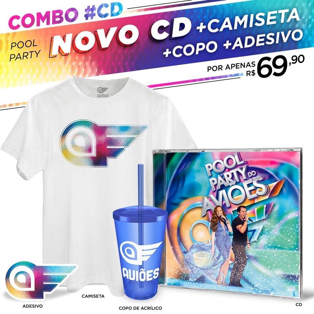 Combo CD Pool Party do Aviões Ao Vivo + Camiseta Masculina