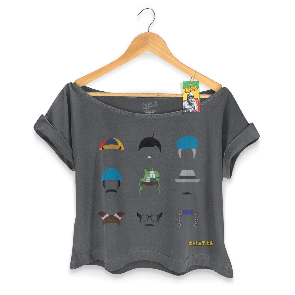 T-shirt Premium Feminina Chaves Ícones Vizinhança