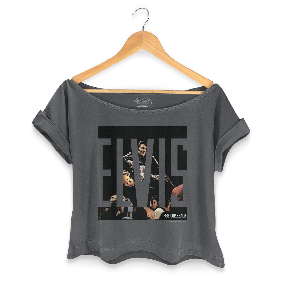 T-shirt Premium Feminina Elvis Presley ´68 Comeback Black