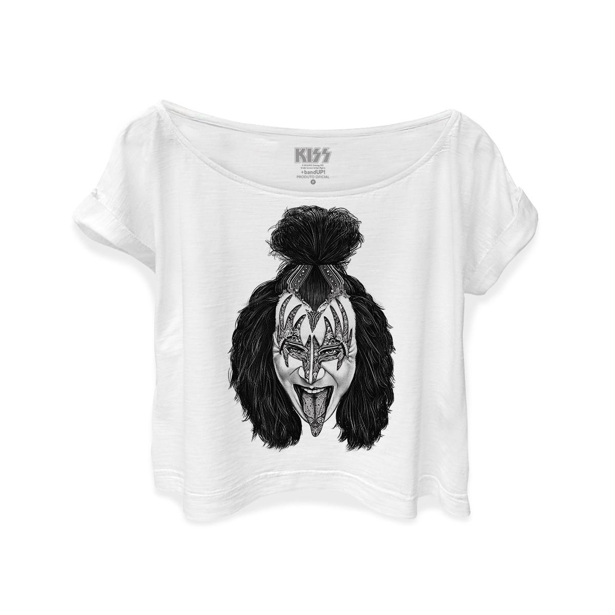 T-shirt Premium Feminina Kiss Gene Simmons Art Style