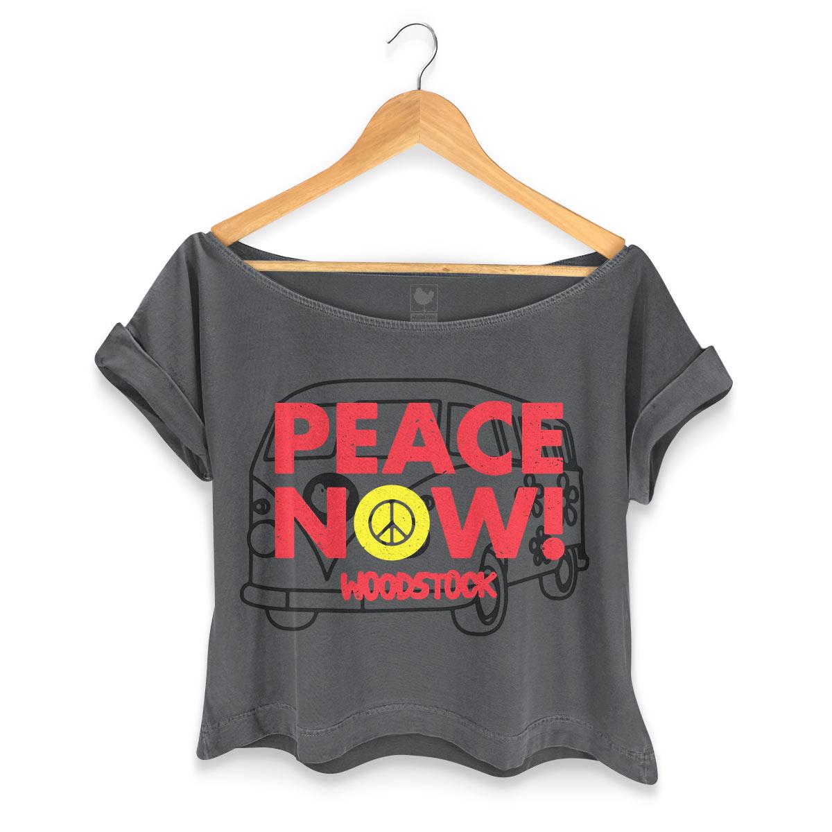 T-shirt Premium Feminina Woodstock Peace Now