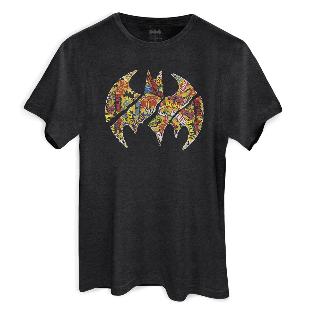 T-shirt Premium Masculina Batman Logo Collage