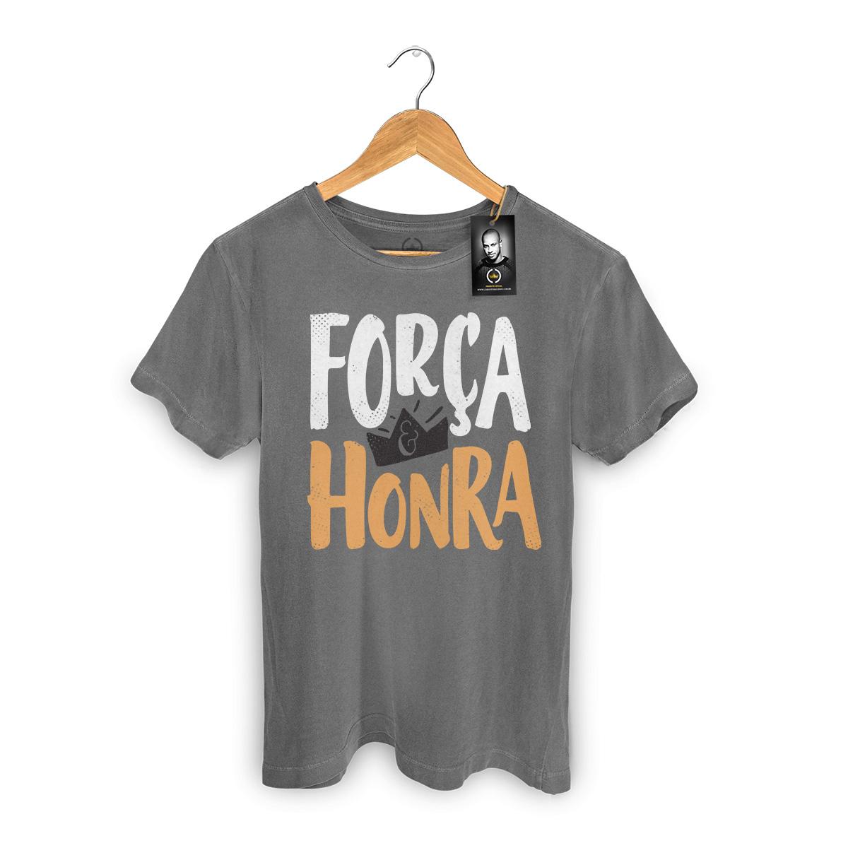 T-shirt Premium Masculina Thiaguinho Força e Honra Black