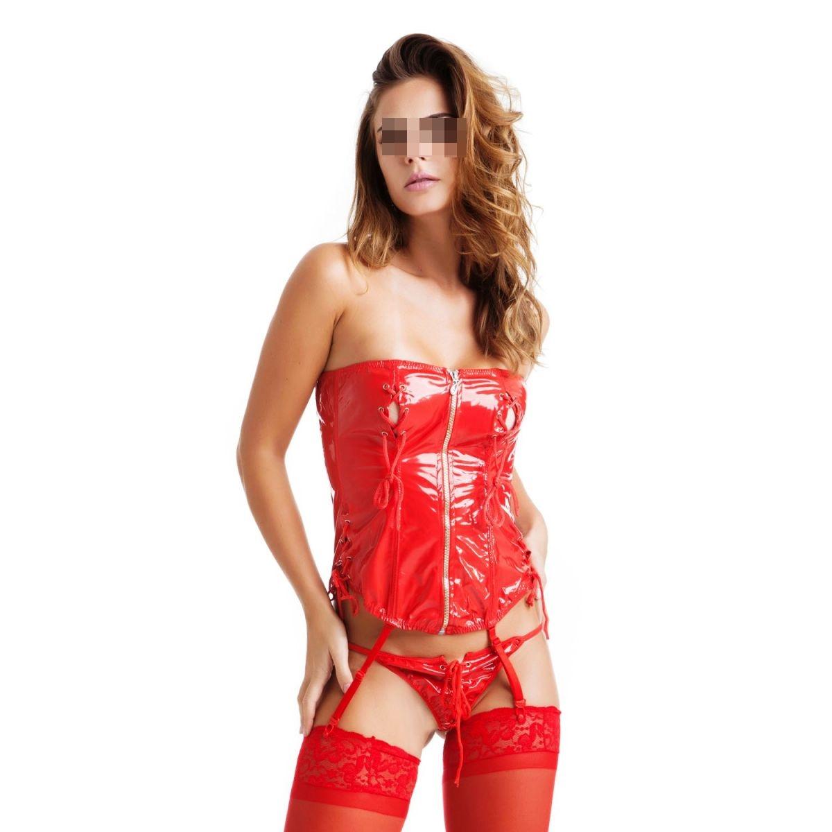 Espartilho Courvin com Ziper Vermelho - Espartilho, calcinha,  cinta-liga, meias arrastão 7/8. Refer: 8742/0104