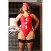 Fantasia Salva Gato - Plus Size - Body Vermelho com Meias 7/8 Arrastão e Viseira - Referência 51331/0100