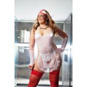 Fantasia SOS Body Plus Size - Body com Meias 7/8 Arrastão - Luvas - Viseira - Referência 51684/0100