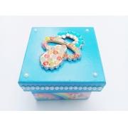 Caixa p/ Chupeta Age Play Pequena decorada Artesanal - Ref CXP 667/0124 Azul