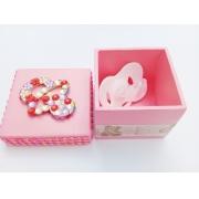 Caixa p/ Chupeta Age Play Pequena decorada Artesanal - Ref CXP 667/0124 Rosa  Strass
