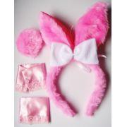 Kit Fantasia - Tiara  Coelhinha Rosa, Punhos Rosa ou Branco e Pompom Rosa  - referência 139/0207A