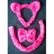 Kit Diverso - Tiara  Pantera Pink - Tiara, Gravata e Rabinho Pink - referência 5191/0207A
