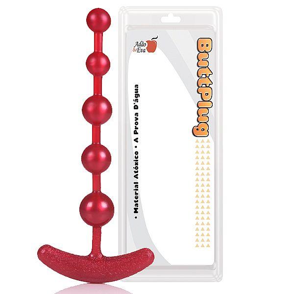Plug Anal Pure Anal Beads 18 cm - Cor Vermelho - 5 Esferas - refer: AC071V/0419
