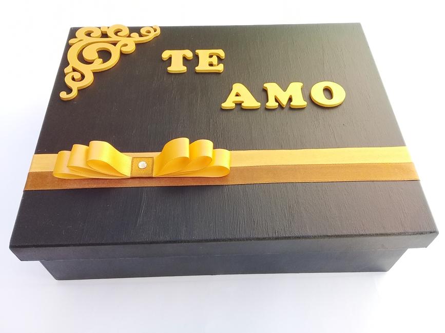 Caixa Decorada Madeira artesanal Grande - Ref 630/0122 Te Amo