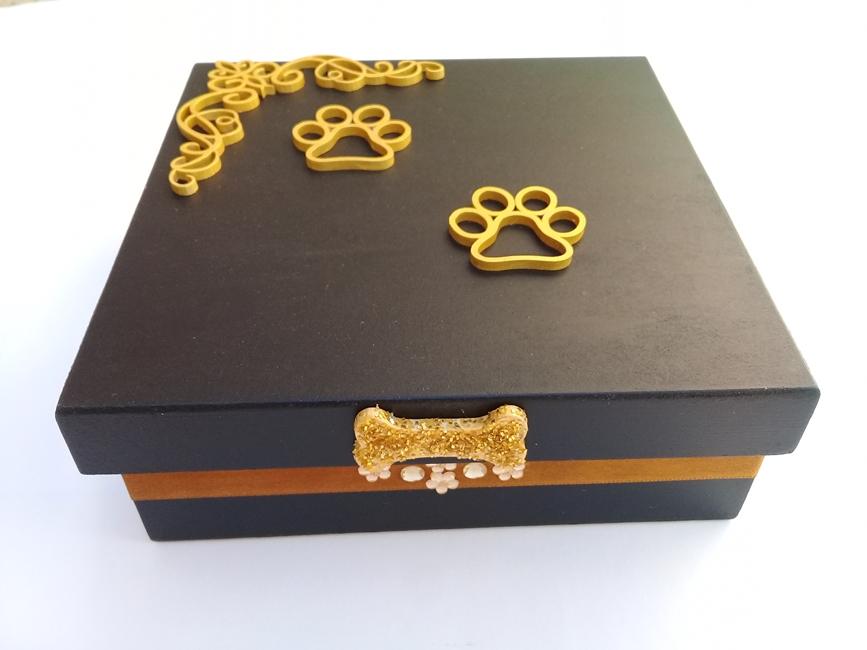 Caixa Decorada Madeira artesanal Média - Ref 640/0122 Pet