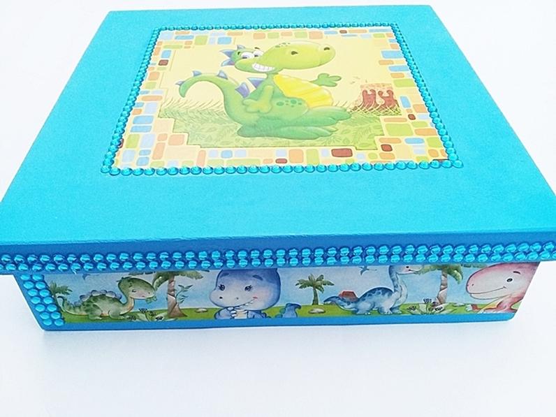 Caixa Madeira Age Play, Grande Decorada artesanal - Ref. CXG 660/0124 Azul