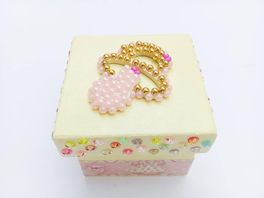 Caixa p/ Chupeta Age Play Pequena decorada Artesanal - Ref CXP 667/0124 Amarelo e Colorido