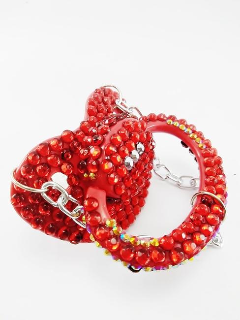 Chupeta Adulto Decorada Tamanho G artesanal Ref 10/0124 RED