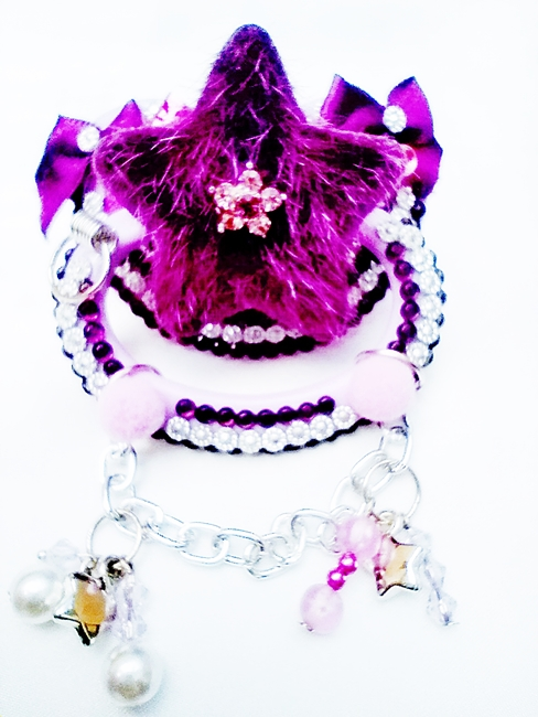 Chupeta Adulto Decorada Tamanho G artesanal Ref 10/0124 Roxa Estrela