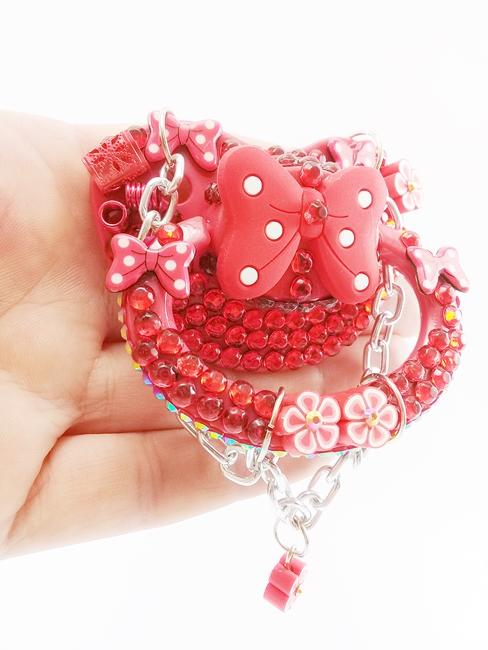 Chupeta Adulto Decorada Tamanho G artesanal Ref 10/0124 Vermelha