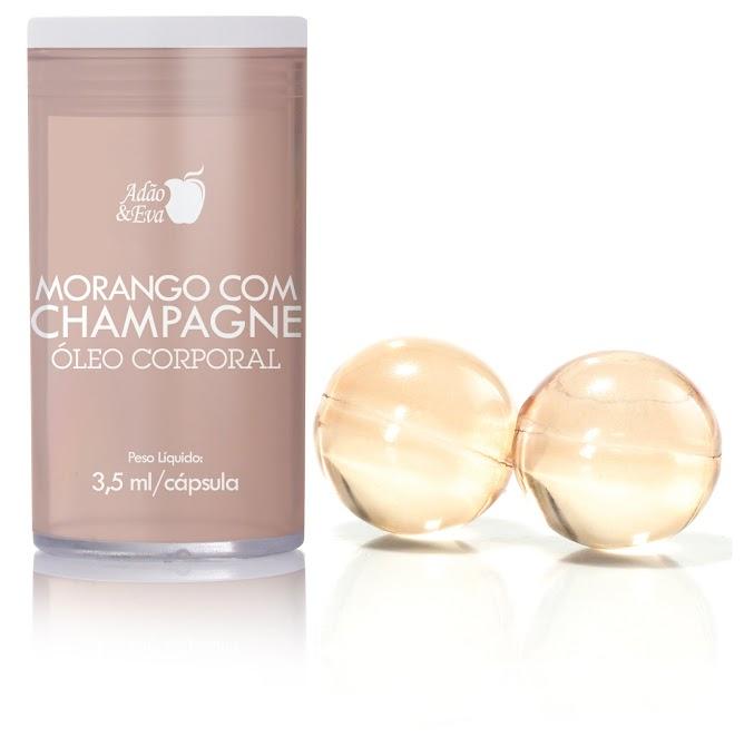 Cápsula Óleo Morango/Champagne  2 unid. para massagem corporal - refer: CO051/0209