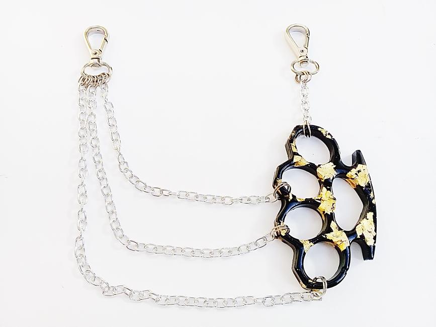 Corrente para calça biju artesanal - S.I. Preto gold - Ref. BIJU 400/0119