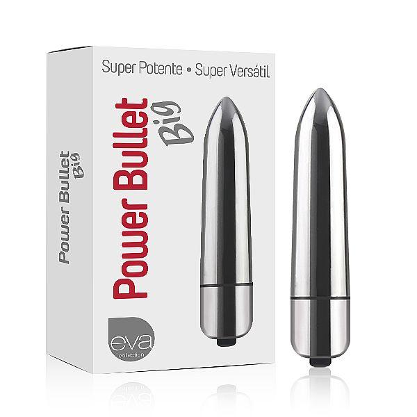Vibrador Power Bullet Big - Cor Prateado - 8,5cm - Referência EVA127/0423