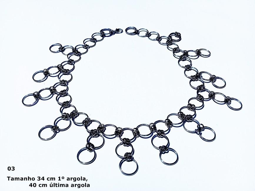 GARGANTILHA ARTESANAL ARGOLAS METAL DETALHES REF G110/0119