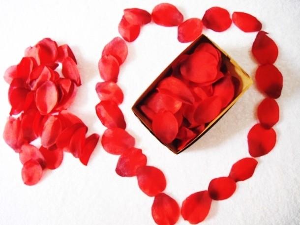 Pétalas de Rosas Artificiais de Tecido Vermelho - Caixa com 100 Pétalas - Referência 54641/0212