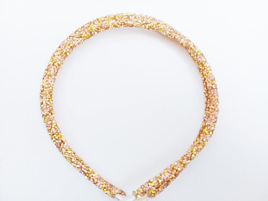 Tiara Tubinho Decorada Artesanal -Dourada  - Ref. T100/ 0126