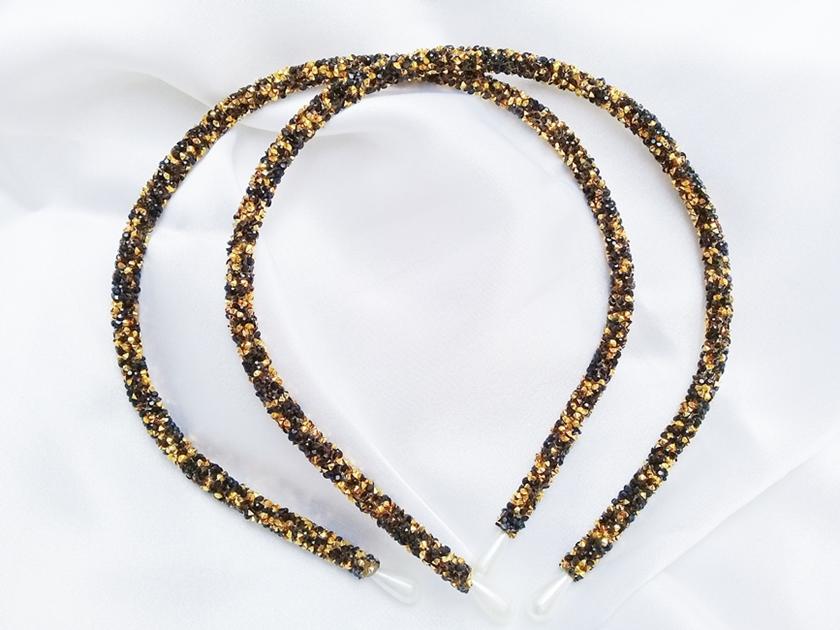 Tiara Tubinho Decorada Artesanal - Preto Dourado   - Ref. T100/ 0126