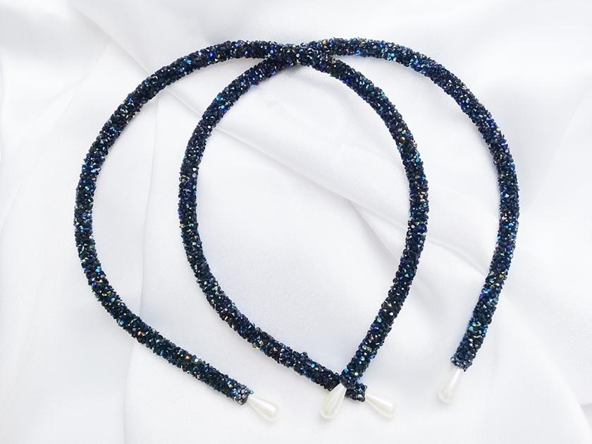Tiara Tubinho Decorada Artesanal - Preto azul  - Ref. T100/ 0126