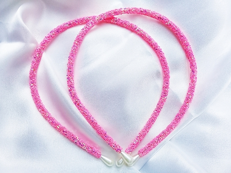 Tiara Tubinho Decorada Artesanal - rosa  - Ref. T100/ 0126