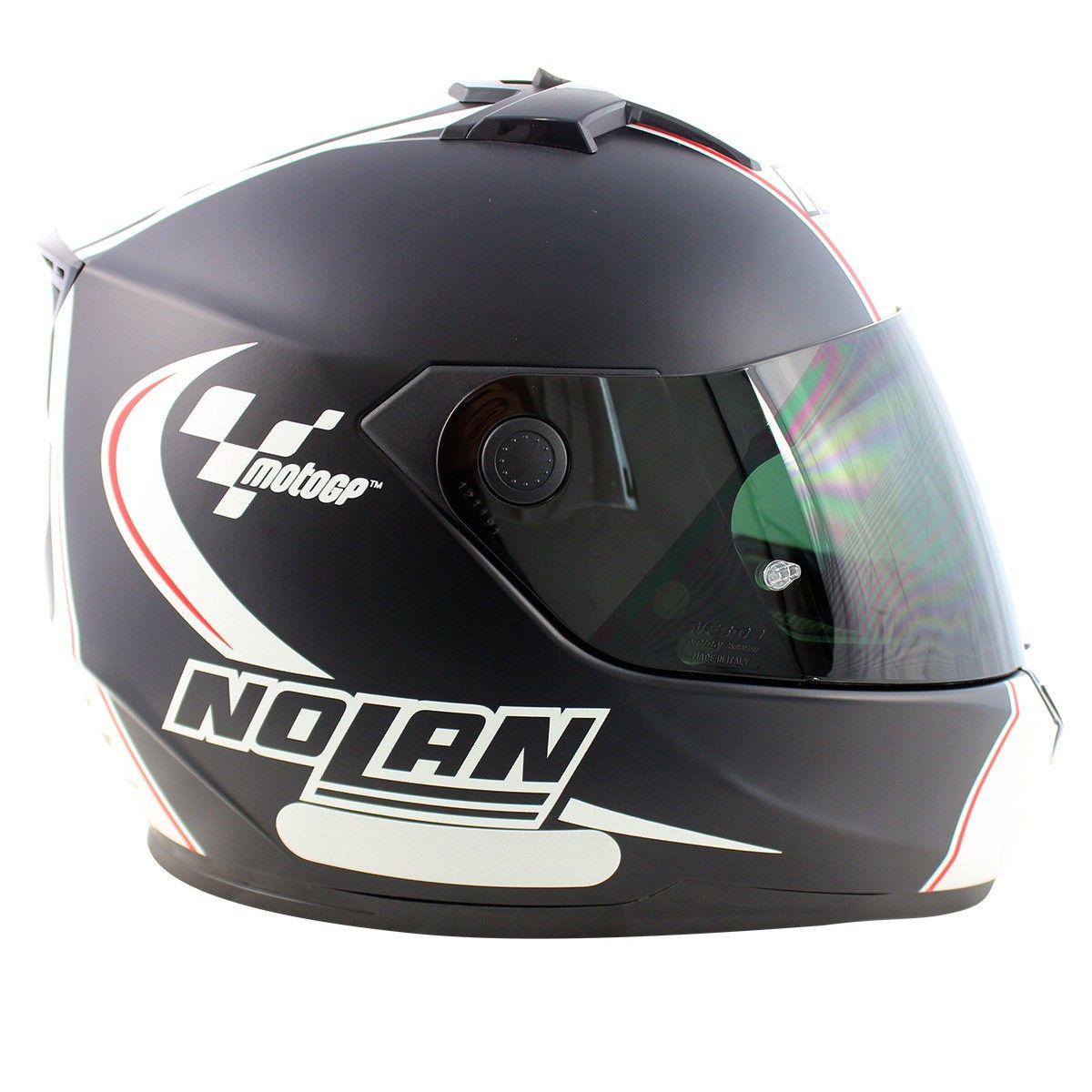 Capacete Nolan N64 MotoGP Flat Black c/ Branco - GANHE TOUCA BALACLAVA