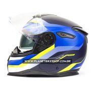 Capacete Nexx Sx100 Mantik Azul/Amarelo Fosco - Acompanha Pinlock (Película Anti-Embaçante)