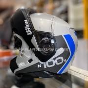 Capacete Nolan N100-5 Plus - Distinctive - Cinza/Azul - Escamoteável C/ Viseira Solar (Ganhe Touca Balaclava)