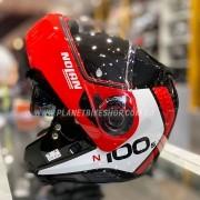 Capacete Nolan N100-5 Plus Distinctive Preto/Vermelho/Branco 27 Escamoteável C/ Viseira Solar - Ganhe Touca Balaclava