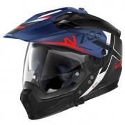 Capacete Nolan N70-2x Bungee Preto/Azul/Vermelho Off-Road / Remove Queixeira