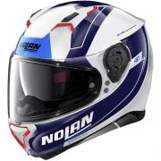 Capacete Nolan N87 Skilled - Branco/Azul (99) - C/ Viseira Solar (Ganhe Pinlock + Touca Balaclava)