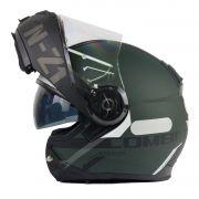 Capacete NZI Combi 2 Flydeck - Verde Fosco - Escamoteável
