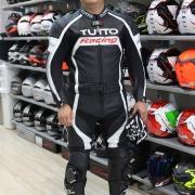 Macacão Tutto Moto Racing 2 pçs Branco c/ Prata - OFERTAÇO - Ganhe: Protetor de Coluna Tutto Combat