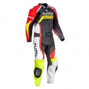 Macacão Tutto Moto Racing 2 pçs Preto/Vermelho/Amarelo - OFERTAÇO - Ganhe: Protetor de Coluna Tutto Combat